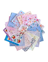 "Cinyifan Elegant Flower Print Soft Cotton Ladies Handkerchief Vintage Gift Hanky 16""16"""