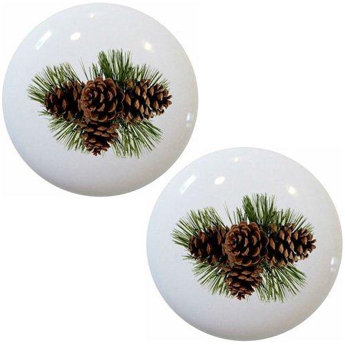 - Set of 2 Pinecones Ceramic Cabinet Drawer Knobs