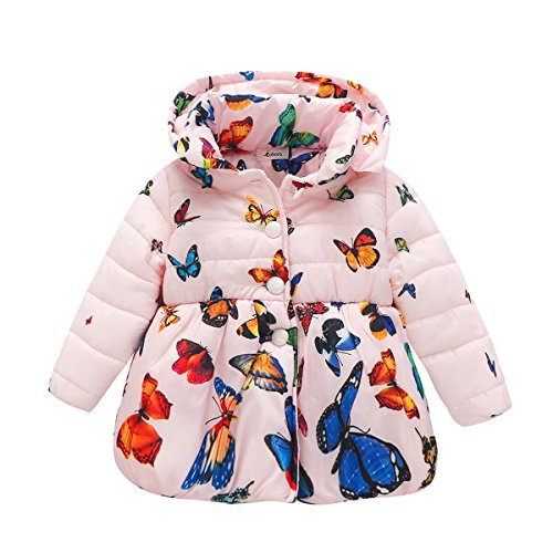 BOBORA Infant Baby Girl Butterfly Pattern Coat Toddler Jacket Outwear (6 Months -1 Year, Pink) (Baby Coat)
