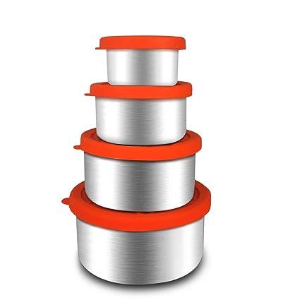 Juego de 4 recipientes de Almacenamiento de Alimentos de Acero Inoxidable para refrigerador, Tapas de Silicona sin BPA, a Prueba de Fugas, Cajas de ...