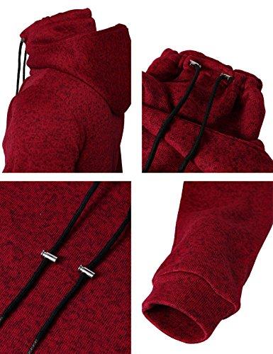 H2H Mens Fleece Lined Sweatshirt Zip Turtleneck Slim Cut Knit Sweater RED US M/Asia L (CMOHOL040)