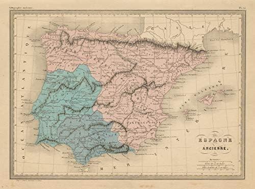 Espagne Ancienne. Iberia antigua. Hispania España Lusitania MALTE-BRUN - c1871 - Mapa antiguo vintage - Mapas impresos de España: Amazon.es: Hogar