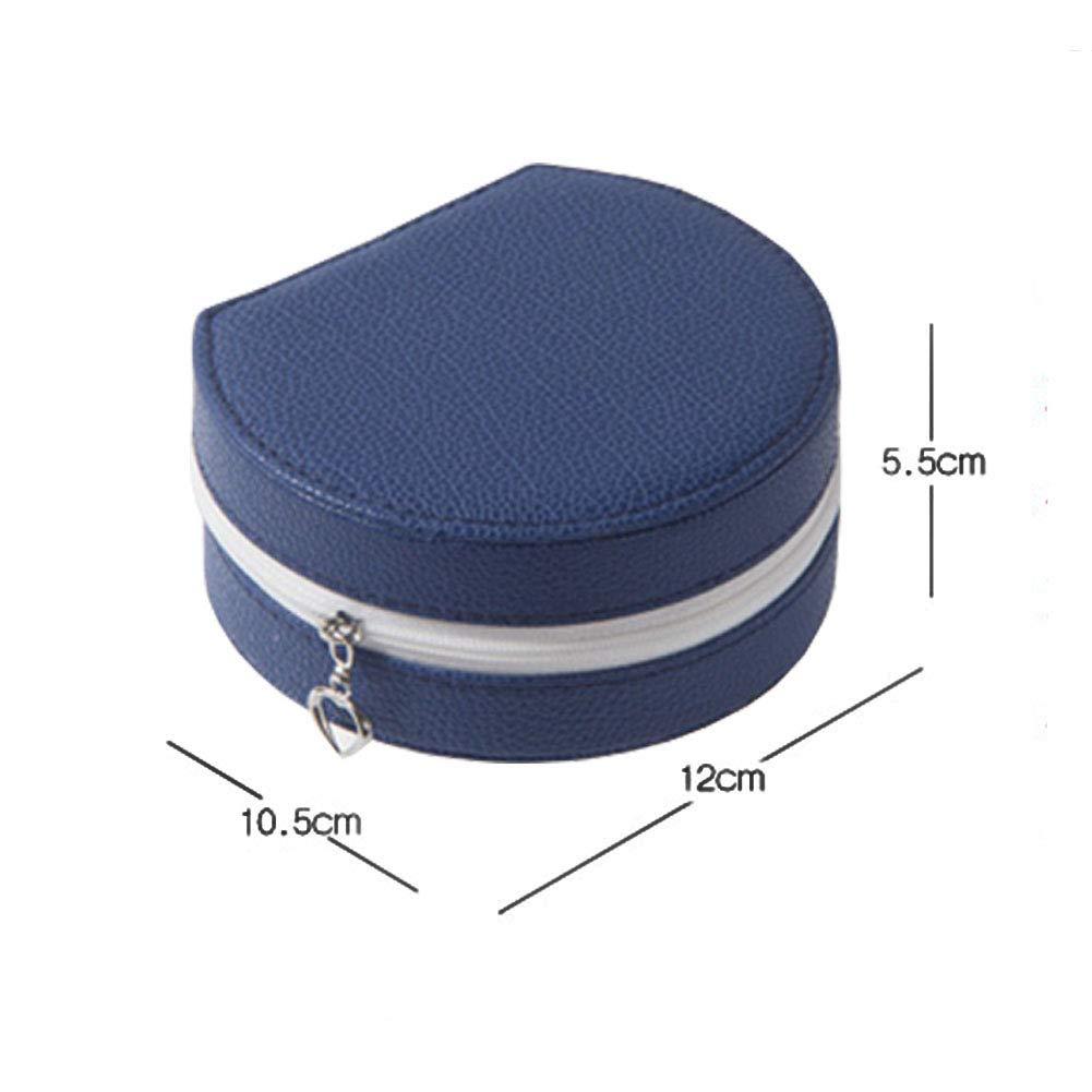 Sky Blue Yoillione Small Jewelry Box Safe Zip and Portable Mirror Travel Jewelry Organizer for Women