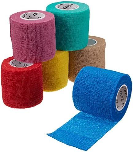6 x cohesive Bandage, Haftbandage, elastischer Fixierverband, Verband, elastische Binde, 5 cm