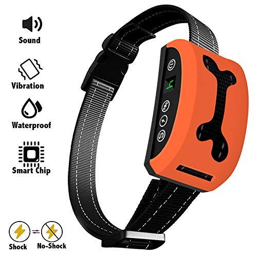 Bark Collar, 2018 Adjustable Vibration, Shock Sensitivity Level 1-7, Rechargeable Waterproof, Smart Barking Detection Small Large Dog, No Bark Collar