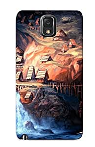 Crazylove Case Cover For Galaxy Note 3 - Retailer Packaging Village On The Side Of The Waterfall Protective Case