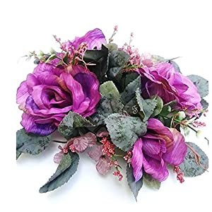 """Wedding Flowers 3"""" Crinkle Rose Candle Ring Artificial Silk Home Office Party Decor (Purple) 14"""