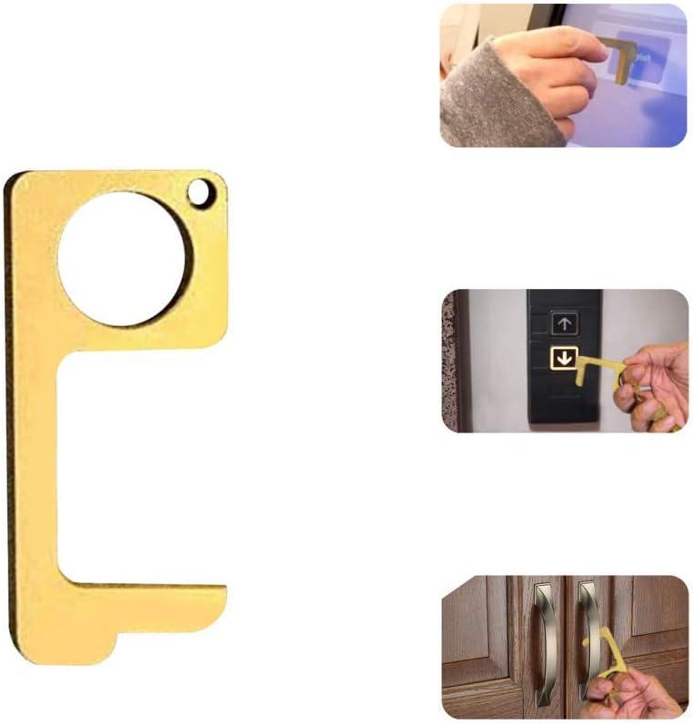 Mantieni le mani pulite 5 Pack Apriporta manuale No-Touch Ottone EDC Igiene Portatile Strumento multifunzione per la salute della porta per apertura//chiusura della porta pulsante dellascensore