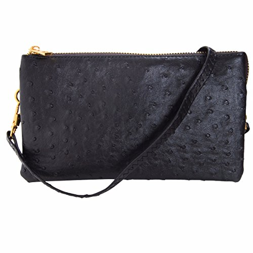 Humble Chic Vegan Leather Faux Ostrich Wristlet - Textured Dot Convertible Wallet Crossbody Bag Clutch Purse with Shoulder Strap, Black Ostrich ()