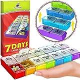 Large Pill Box Organizer Holder - Detachable AM PM Daily Medication Organizer - Weekly Medicine Organizer 2 Times a Day - Vitamin Case Twice a Day