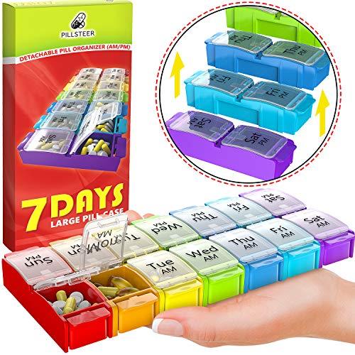 Large Pill Box Organizer Holder - Detachable AM PM Daily Medication Organizer - Weekly Medicine Organizer 2 Times a Day - Vitamin Case Twice a -