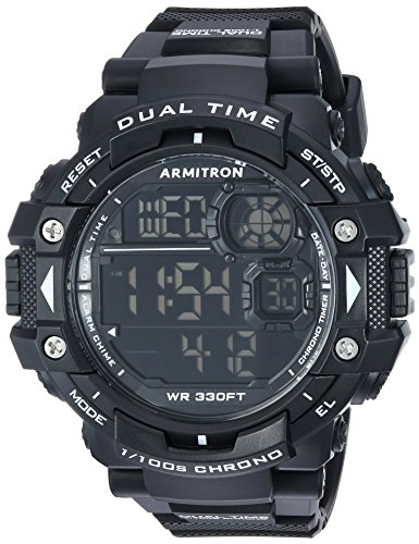 Sports 100m Watch (Armitron Sport Men's 40/8309BLK Digital Chronograph Black Resin Strap Watch)