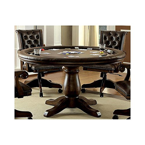 Paddington 54 inch Round Dining Game Table in Dark Brown Wood by FA Furnishing