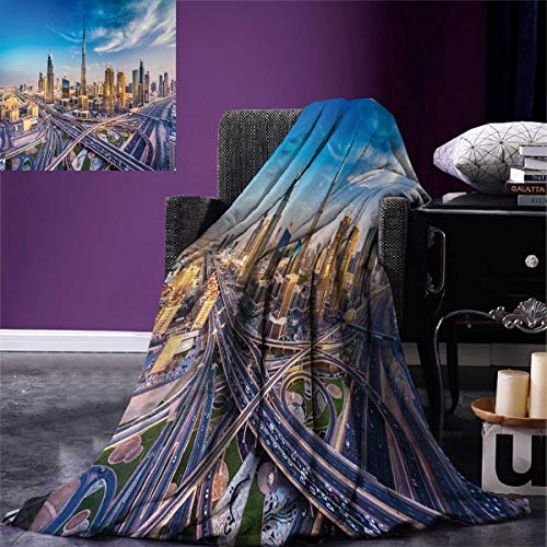 smallbeefly City Lightweight Blanket Panoramic View Dubai Arabian Cityscape High Rise Buildings Traffic Roads Digital Printing Blanket 60''x36'' Blue Ivory Marigold by smallbeefly