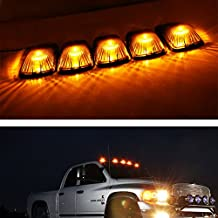 iJDMTOY® 5pcs Smoked Lens Aerodynamic Low Profile Design Cab Roof Marker Running Lamps w/ Amber LED Light Bulbs For Truck Pickup 4x4 SUV