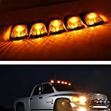 universal cab roof lights - iJDMTOY 5pcs Smoked Lens Aerodynamic Low Profile Design Cab Roof Marker Running Lamps w/ Amber LED Light Bulbs For Truck Pickup 4x4 SUV