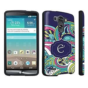 DuroCase ? LG G3 Hard Case Black - (Mint Flower Monogram E)
