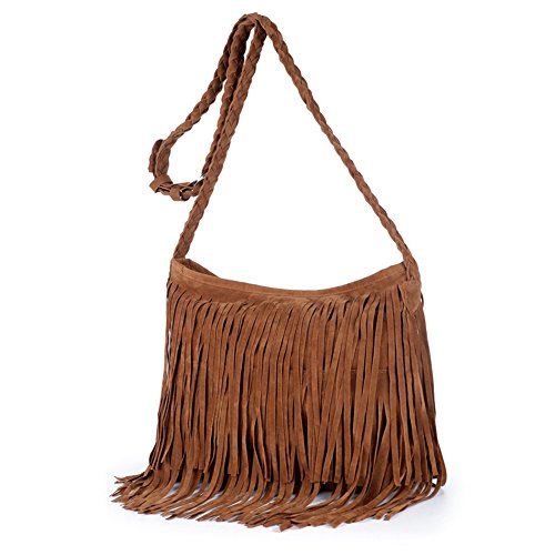 (ZIIPOR Girls Scrub Sling Leather Woven Mini Small Fringe Crossbody Bag Flap (Brown))