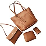 Xuanhemen 4PCS/SET Tassel Design Women Girl Large Capacity Single Shoulder Bag Soft PU Leather Solid Color Handbag Tote Bags Fashion Bags