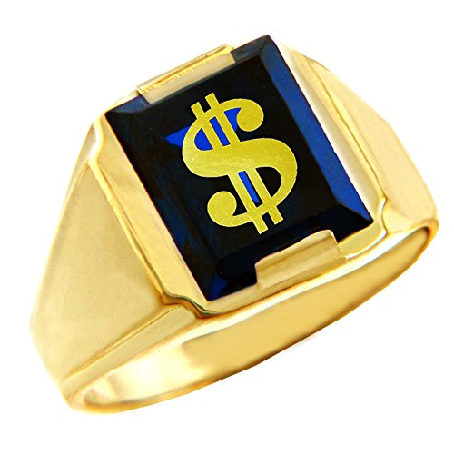 Lucky Square Ring - Men's 10k Yellow Gold Blue Stone Square and Lucky Dollar Sign Ring (Size 10)