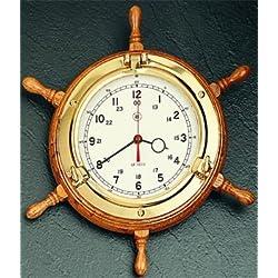 Bey-Berk SQ509 Lacquered Brass Porthole Quartz Clock with Ship's Wheel on Oak Wood, Brown