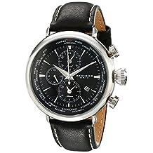 Akribos XXIV Men's AK629BK Explorer World Time Alarm Stainless Steel Black Dial Black Leather Strap Watch