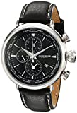 Akribos XXIV Men's AK629BK Explorer World Time Alarm Stainless Steel Black Dial Black Leather Strap Watch