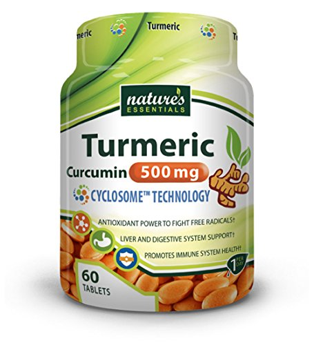 Nature's Essentials Premium Turmeric-Curcumin Extract 500mg with Advanced Cyclosome Liposomal Delivery Technology - 60 Tablets