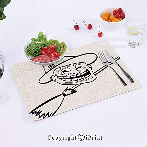 (AngelSept Cotton Linen Placemats Trendy Style Heat Insulation,Halloween-Spirit-Themed-Witch-Guy-Meme-LOL-Joy-Spooky-Avatar-Artful-Image,18x12inch,for Kitchen and Dining)