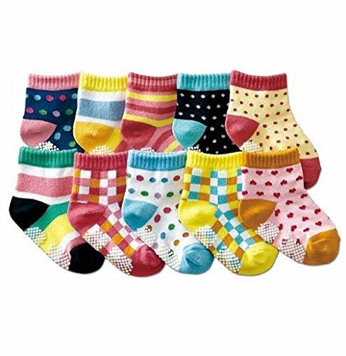 B&S FEEL Baby's 10-pair Printing Quarter Socks Set (anti-slip 1-3 years old)
