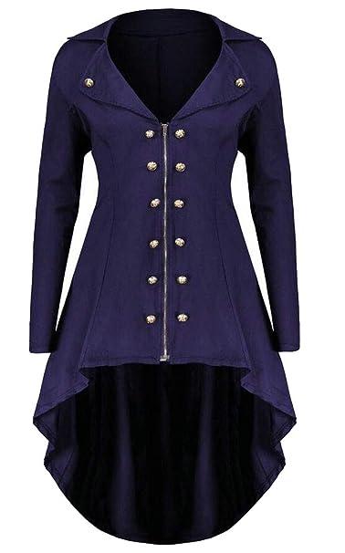 Gocgt Women s Pleated Double-Breasted Tuxedo Jacket Long Irregular Coat  Purple S 0bfbb2366d