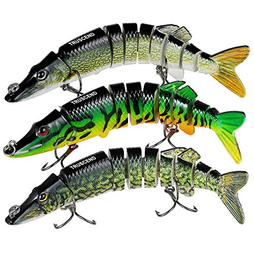 TRUSCEND Fishing Bass Lures 4.9' Multi Jointed Topwater Life-Like Trout Swimbait Hard CrankBaits (A-Pike-Combo-1)