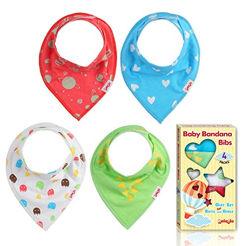 [BIG SALE - Baby Bandana Drool Bibs By Holaola, Unisex 4-Pack Absorbent Organic Cotton, Cute Baby Gift Set for] (Jungle Outfit)