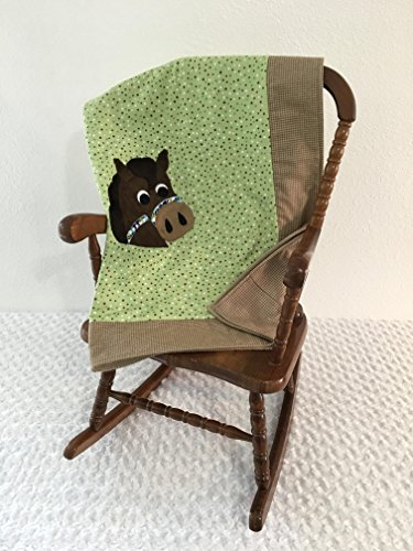 Small Green and Brown Horse Applique Blanket