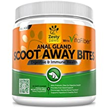 Scoot Away Soft Chews for Dogs - With VitaFiber, Prebiotics & Pumpkin for No More Scoots - Premium Fiber for Anal Gland Sac & Bowel Support + Chewable Digestive Enzymes Supplement - 90 Count