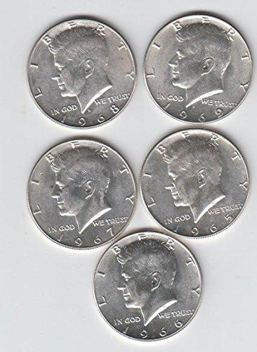 1965 - 1969 (5 ) Kennedy Half Dollars 40% Silver AU-50
