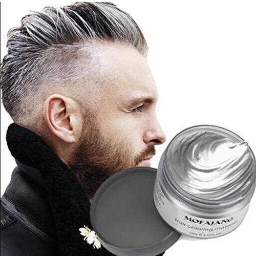 Temporary Hair Dye Wax , YHMWAX 4.23oz Instant Hairstyle Silver Hair wax, Natural Hair Coloring Wax Material Disposable Hair Styling Clays Ash for Cosplay,Party,Masquerade, Halloween.etc (Silver Grey) -