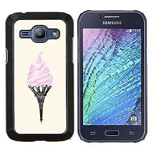 EJOOY---Cubierta de la caja de protección para la piel dura ** Samsung Galaxy J1 J100 ** --helados torre Eifel de París el arte de color rosa Francia