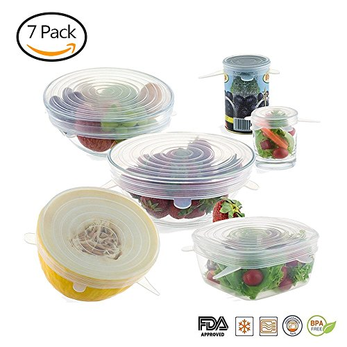 Jamber Silicone Stretch Lids cover Food Fresh 7 packs Fit Various Sizes and Shapes of Containers, Dishwasher and Freezer Safe