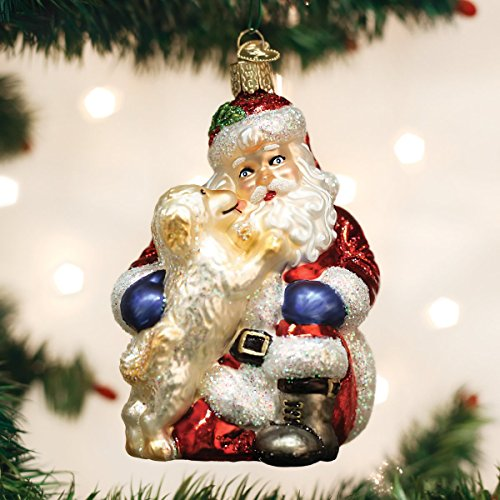 Old World Christmas Glass Blown Ornament Santa's Puppy Love (40293) Blown Glass Santa Ornament