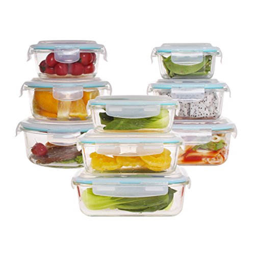 Family Set 3 + 3 + 3 Glass Food Storage Containers Set with High-Top Locking Lids- Use for Kitchen - Snap On Lids Keep Food Fresh with Airtight Seal Safe for Dishwasher, Freezer, Microwave and Oven (Clear Spring Liquid Fresh Dish)