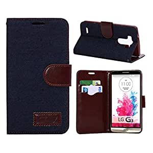 IVY Dark Blue - Fashion Jean Lines Magnetic Snap Wallet Flip Leather With Stand Hard Cover Case For LG G3 (2014)