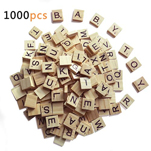 1000 Scrabble Letters for Crafts - Wood Scrabble Tiles - DIY Wood Gift Decoration - Making Alphabet Coasters and Scrabble Crossword Game (Scrabble Letters For Crafts)