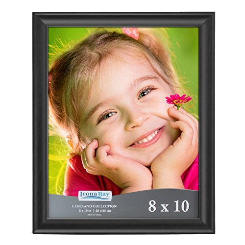 (Icona Bay 8x10 Picture Frame (1 Pack, Black), Black Photo Frame 8 x 10, Composite Wood Frame for Walls or Tables, Set of 1 Lakeland Collection)