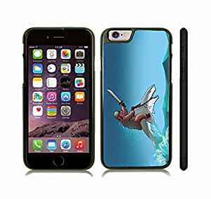iPhone 6 Plus Case with Bear Riding a Shark, Funny Design, Grizzly Bear with Helmet and Sword, Riding a Shark , Snap-on Cover, Hard Carrying Case (Black)