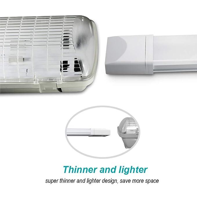 J&C® IP65 18W 60cm Regleta fluorescentes estanca de luz compacta LED lámpara perfil bajo 1500Lm: Amazon.es: Hogar