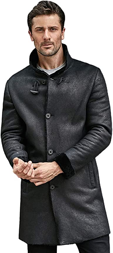 Mens PU Leather Jacket Double Breasted Business Casual Coat Mid Long Stylish New