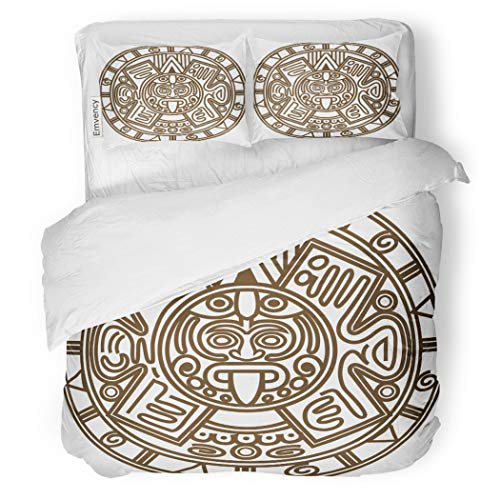 SanChic Duvet Cover Set Aztec of Ancient Mayan Calendar Maya Antiquities Apocalypse Decorative Bedding Set with 2 Pillow Cases Full/Queen Size ()