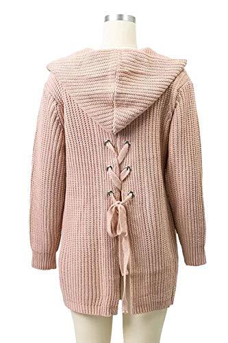 Khaki Fashion Incappucciato A Cappotto Giacca Maniche Women Moda Outwear Donne Con Maglia Sciolto Tasche Eleganti Invernali Autunno Pullover Giovane Lunghe Alla Casual Lacci AxBAfIYq