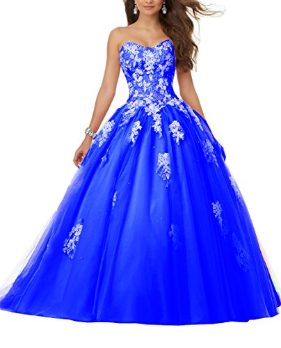 Eldecey Elley Women's Sweetheart Lace Applique Sequins Tulle Strapless Floor Length Ball Gown Debutante Dress Light Royal Blue - Train Strapless Length Royal